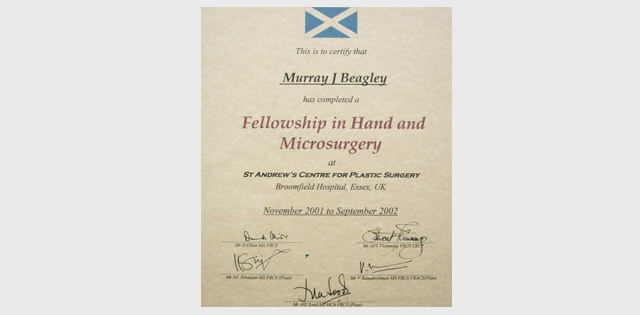 Fellowship in Hand and Microsurgery St Andrews Centre for Plastic Surgery